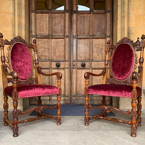 Baroque Style Chairs before and after restoration