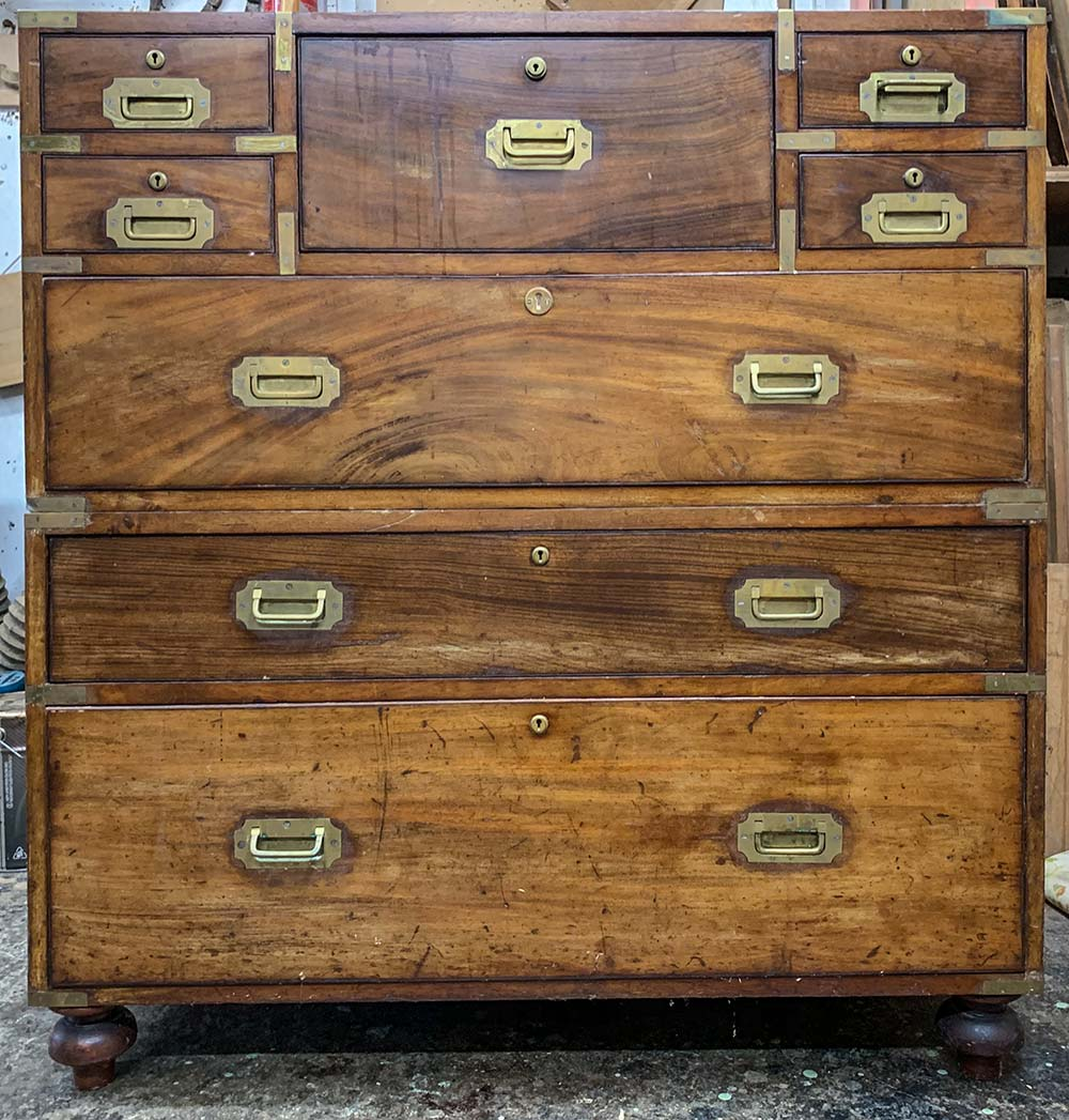 Brass Bound Military Chest - Before