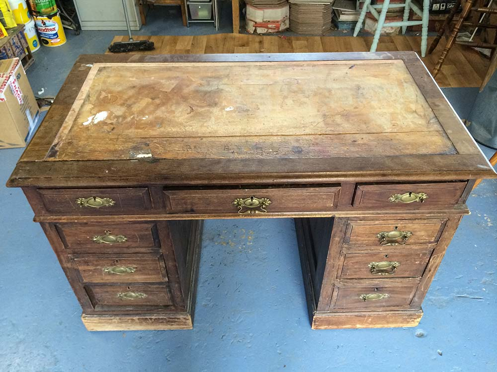 Edwardian Mahogany Desk - Before
