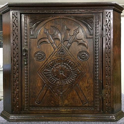 Jacobean Oak Corner Cabinet