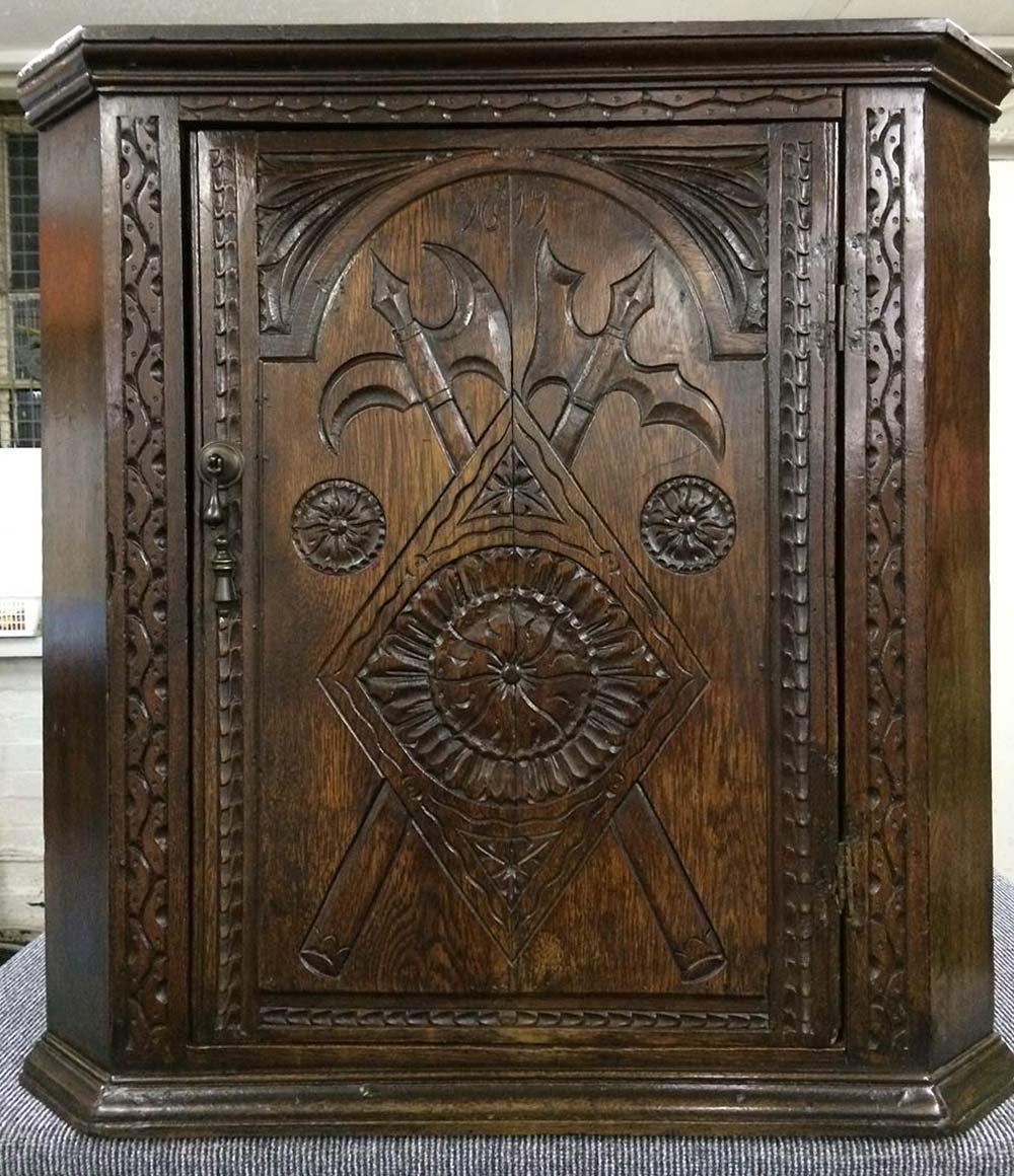 Jacobean Oak Corner Cabinet - After