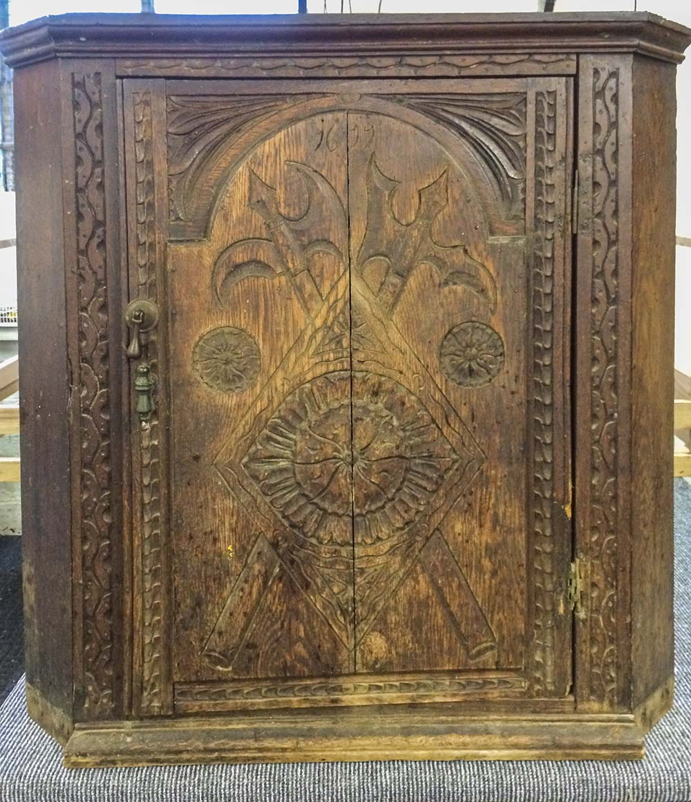 Jacobean Oak Corner Cabinet - Before