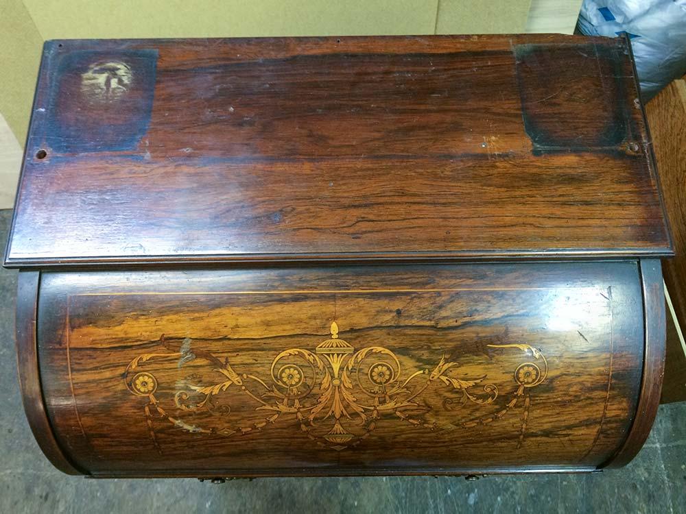 James Schoolbred & Co Rosewood Cylinder Bureau - Before